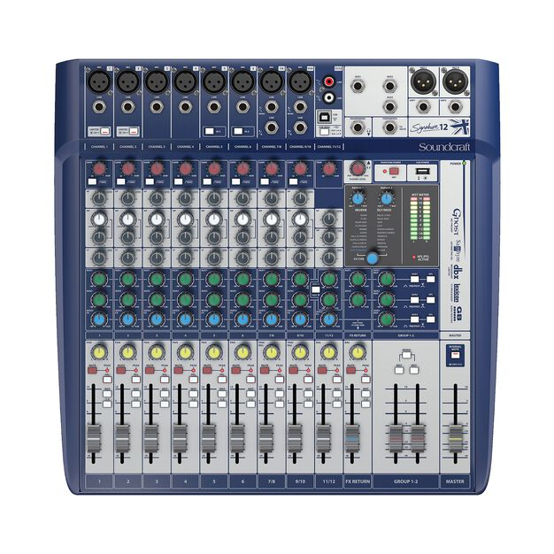 Signature 12 - Dark Blue - 12-input small format analogue mixer with onboard effects - Front