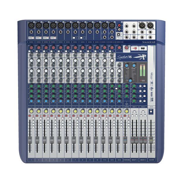 Signature 16 - Dark Blue - 16-input small format analogue mixer with onboard effects - Front