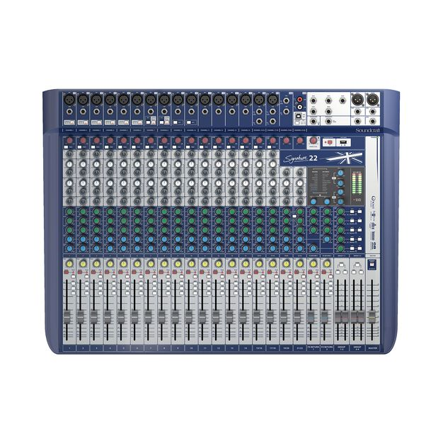 Signature 22 - Dark Blue - 22-input analogue mixer with onboard effects - Front